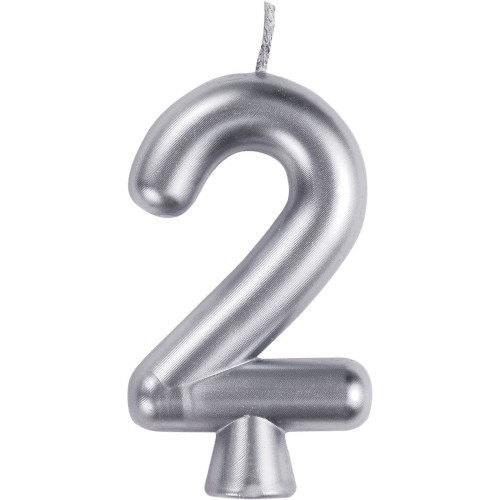 """Club Pack of 12 Silver """"2"""" Birthday Candles 2.75"""" - IMAGE 1"""