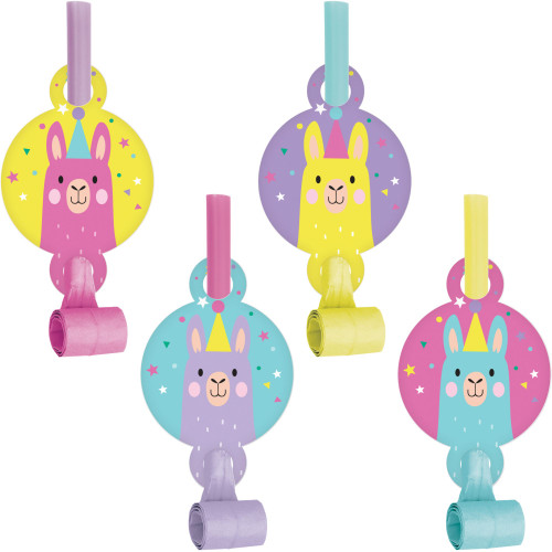 """Club Pack of 48 Yellow and Purple Llama Party Noisemakers 5.25"""" - IMAGE 1"""