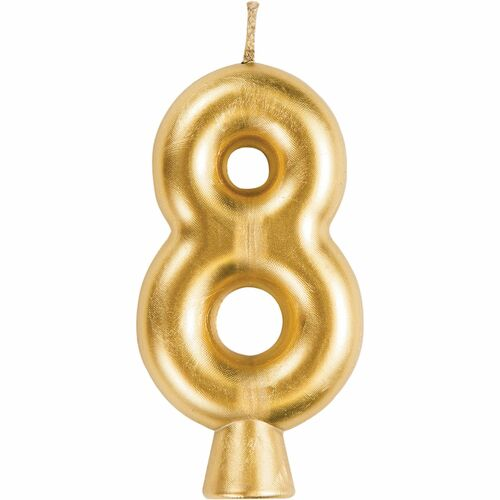 """Club Pack of 12 Gold """"8"""" Birthday Candles 2.75"""" - IMAGE 1"""