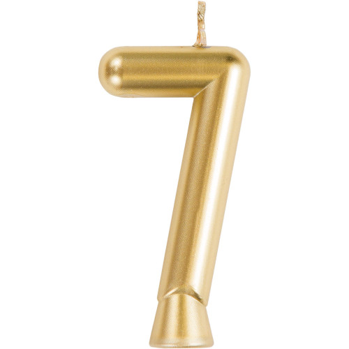"""Club Pack of 12 Gold Numeric 7 Birthday Candles 2.75"""" - IMAGE 1"""