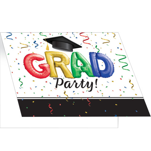 """Club Pack of 75 Black and White Graduation Invitations 5"""" - IMAGE 1"""