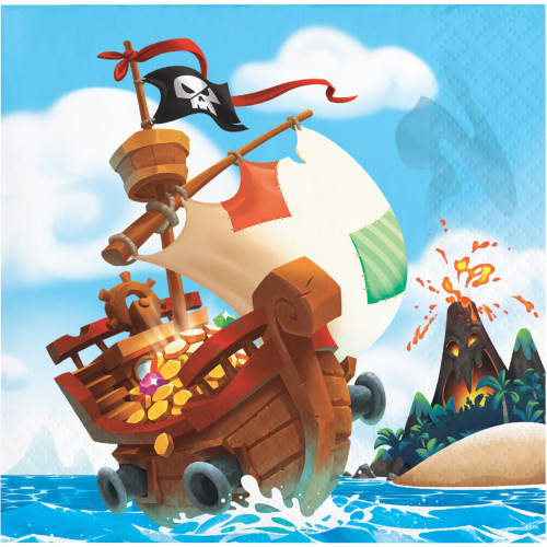 """Club Pack of 192 Blue and Brown Pirate Treasure Themed 2-Ply Luncheon Beverage Napkins 10"""" - IMAGE 1"""