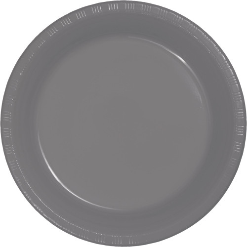 """Club Pack of 240 Gray Solid Round Dessert Plates 7"""" - IMAGE 1"""