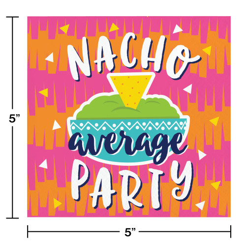 """Club Pack of 192 Orange and Pink """"NACHO average PARTY"""" Printed Square 2-Ply Luncheon Napkins 10"""" - IMAGE 1"""