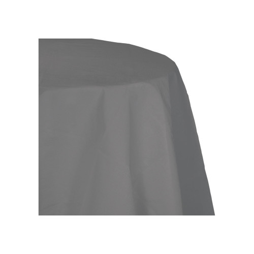 "Club Pack of 12 Gray Glamour Octy Round Tablecloths 82"" - IMAGE 1"