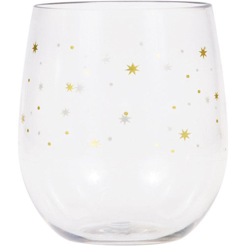 Pack of 6 Gold and Clear Iridescent Stars Stemless Wine Glasses 14 oz. - IMAGE 1