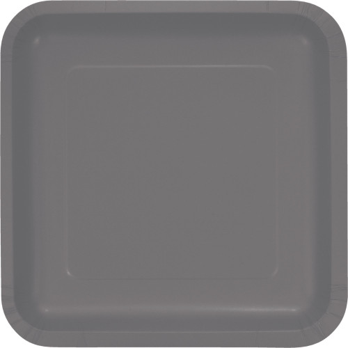 """Club Pack of 180 Gray Solid Square Dessert Plates 9.1"""" - IMAGE 1"""