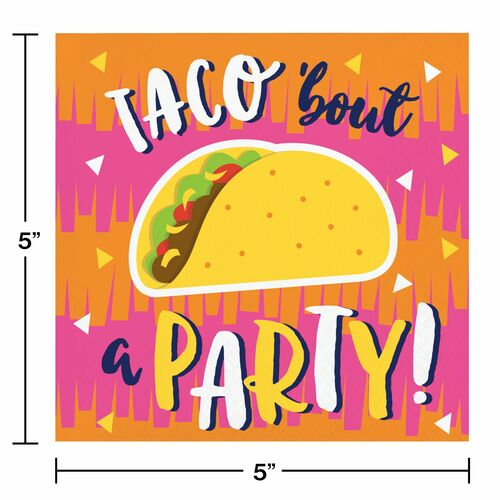 """Club Pack of 192 Orange and Pink """"TACO 'bout a PARTY"""" Printed Square 2-Ply Luncheon Napkins 10"""" - IMAGE 1"""