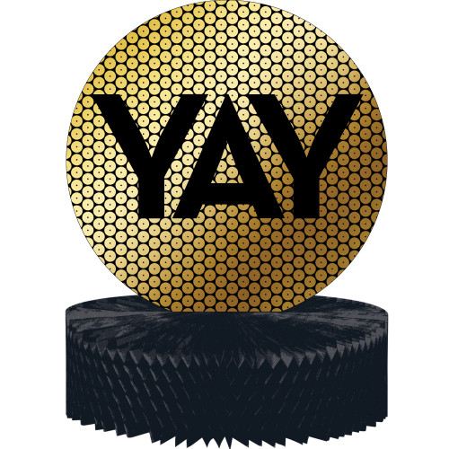 """Club Pack of 12 Gold and Black """"YAY"""" Sequin Centerpieces 12"""" - IMAGE 1"""
