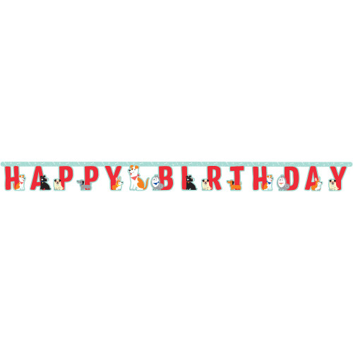 "Club pack of 12 Green and Red Dog Party Happy Birthday Banner 75.6"" - IMAGE 1"