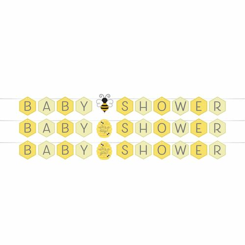 """Club Pack of 12 Yellow and Black """"BABY SHOWER"""" Printed Bumblebee Baby Banner 66"""" - IMAGE 1"""