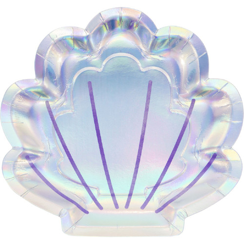 "Club Pack of 96 Purple and Blue Iridescent Clam Shell Themed Dinner Plates 8.75"" - IMAGE 1"