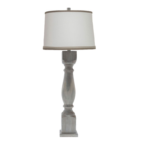 "Hudson Washed Lamp and White Linen Shade with Gray Trim 40"" - IMAGE 1"