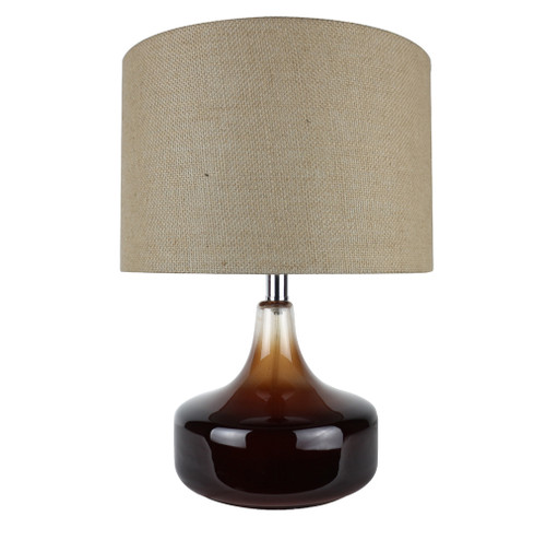 """16"""" Lark Brown Table Lamp with Beige Linen Shade - IMAGE 1"""
