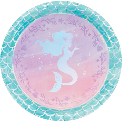 "Club Pack of 96 Purple and Blue Iridescent Mermaid Themed Round Dinner Plates 9"" - IMAGE 1"