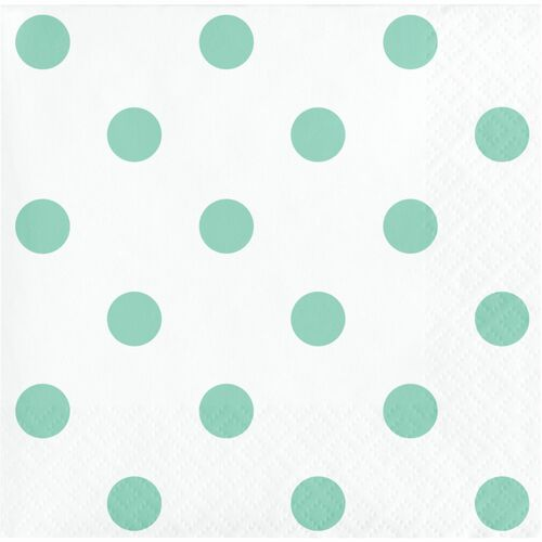 """Club Pack of 192 Mint Green and White 2-Ply Polka Dots Beverage Napkins 5"""" - IMAGE 1"""