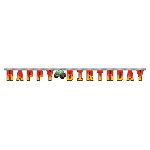 """Club Pack of 12 Orange and Yellow """"HAPPY BIRTHDAY"""" Printed Monster Truck Rally Banner 81'' - IMAGE 1"""