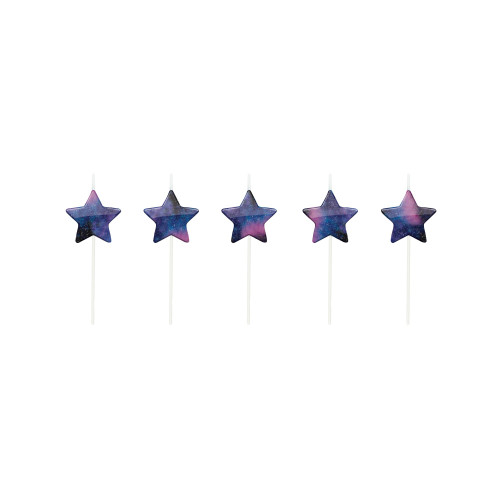 """Club Pack of 60 Navy Blue and Purple Galaxy Stars Pick Candles 2.5"""" - IMAGE 1"""