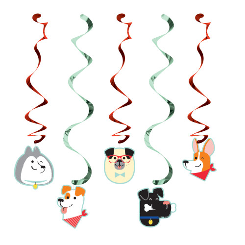 """Club Pack of 30 Black and Gray Dog Party Dizzy Danglers 39"""" - IMAGE 1"""
