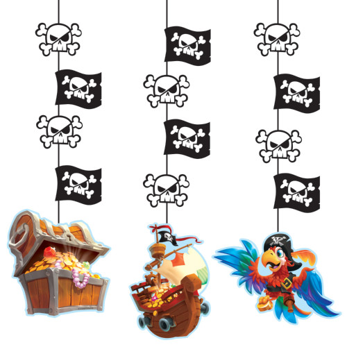 """Club Pack of 36 Black and Brown Pirate Treasure Hanging Cutouts 32"""" - IMAGE 1"""