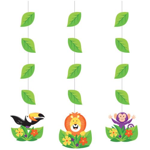 "Club Pack of 36 Green and Orange Jungle Safari Hanging Cutouts 32"" - IMAGE 1"