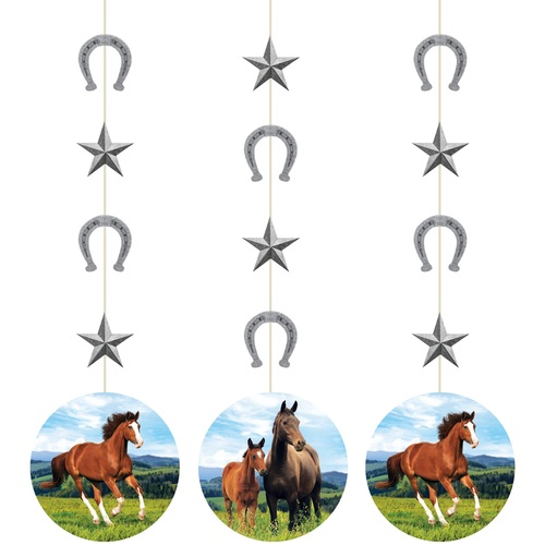 """Club Pack of 36 Brown and Green Horse Themed Hanging Cutouts 32"""" - IMAGE 1"""