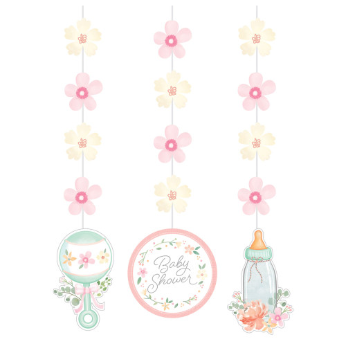 """Club Pack of 36 Pink and White Baby Shower Hanging Cutouts 32"""" - IMAGE 1"""