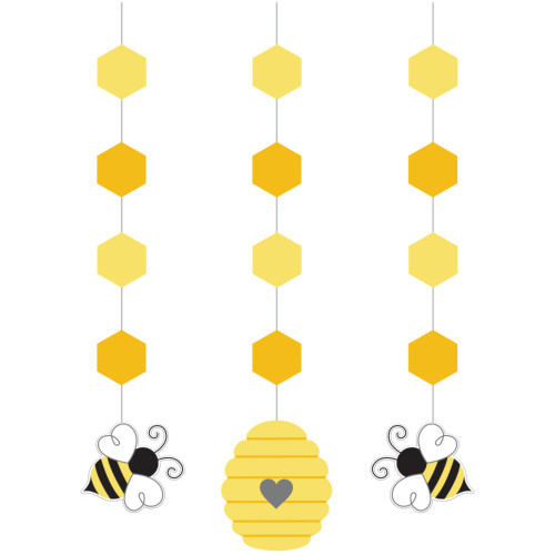 """Club Pack of 36 Yellow and Black Bumblebee Baby Hanging Cutouts 32"""" - IMAGE 1"""