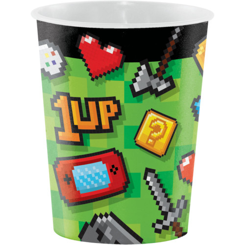 "Club Pack of 96 Green and Black Video Game Themed Party Favor Cups 4.5"" - IMAGE 1"