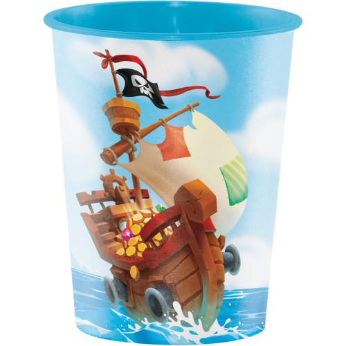 "Club Pack of 12 Blue and Brown Pirate Treasure Keepsake Cups 4.5"" - IMAGE 1"