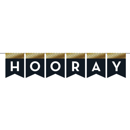 """Club Pack of 12 Blue and Gold """"Hooray"""" Party Banner 72"""" - IMAGE 1"""