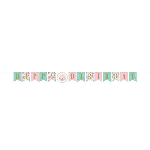 """Club Pack of 12 Green and Pink """"HAPPY BIRTHDAY"""" Printed Floral Tea Party Banner 66"""" - IMAGE 1"""