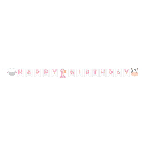 """Club Pack of 12 Pink and White """"HAPPY BIRTHDAY"""" Printed Farmhouse Birthday Banner 96"""" - IMAGE 1"""
