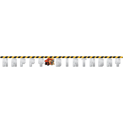 """Club Pack of 12 Gray and Yellow """"HAPPY BIRTHDAY"""" Printed Big Dig Construction Banner 120'' - IMAGE 1"""