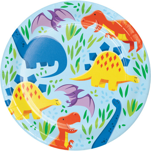 "Club Pack of 96 Blue and Yellow Round Dinosaur Dessert Plates 6.75"" - IMAGE 1"