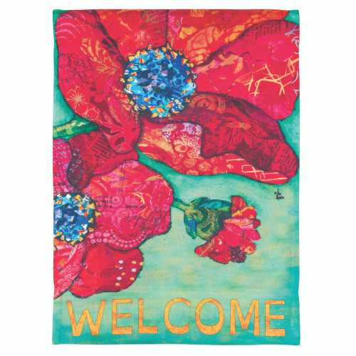 """Green """"WELCOME"""" Printed Red Poppy Garden Flag 42"""" x 29"""" - IMAGE 1"""