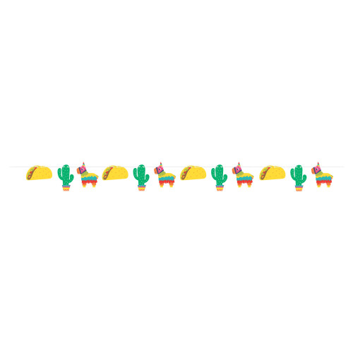 """Club Pack of 12 Yellow and Green """"HAPPY BIRTHDAY"""" Printed Fiesta Fun Banner 96"""" - IMAGE 1"""