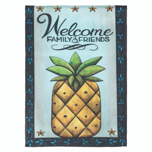 """Yellow """"WELCOME FAMILY AND FRIENDS"""" Pineapple Printed Garden Flag 42"""" x 29"""" - IMAGE 1"""