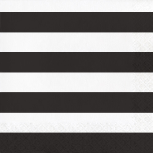 """Club Pack of 192 Black and White 2-Ply Striped Luncheon Napkins 6.5"""" - IMAGE 1"""