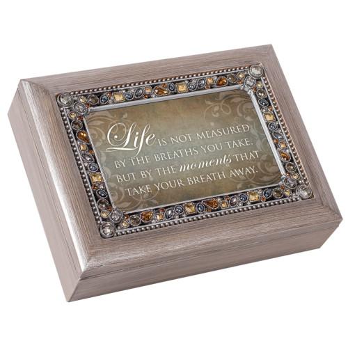 "8"" Brown Topaz Jewel Boarded Rectangular ""Life"" Printed Musical Box - IMAGE 1"
