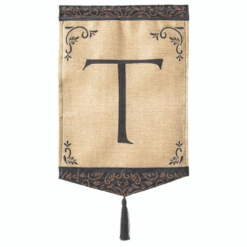 "Brown and Beige Monogram ""T"" Garden Flag 18"" x 13"" - IMAGE 1"