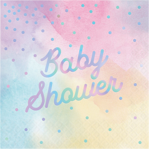 """Club Pack of 192 Pink and Blue 3-Ply """"Baby Shower"""" Printed Luncheon Napkins 6.5"""" - IMAGE 1"""