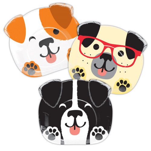 """Club Pack of 96 White and Black Dog Themed Dinner Plates 8.75"""" - IMAGE 1"""