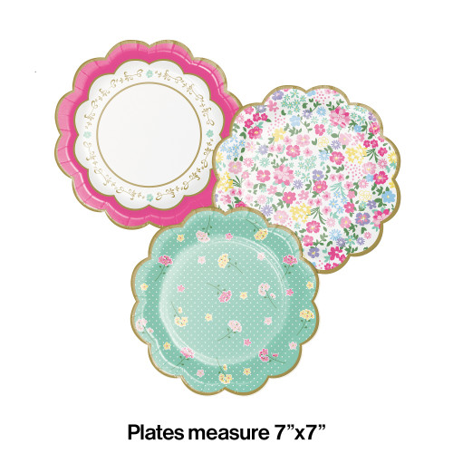 """Club Pack of 96 Green and Pink Floral Shaped Tea Party Round Dessert Plates 7"""" - IMAGE 1"""