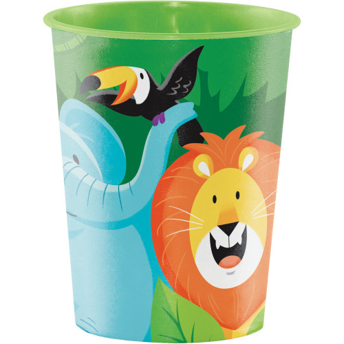 """Club Pack of 12 Green and Orange Jungle Themed Keepsake Cups 4.5"""" - IMAGE 1"""
