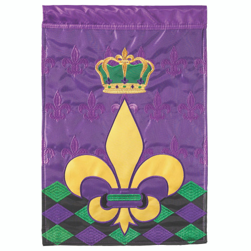 "Purple and Yellow Crowned Fleur De Lis Rectangular Garden Flag 18"" x 13"" - IMAGE 1"