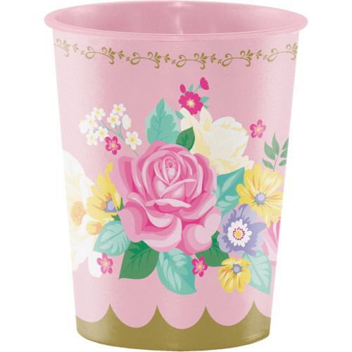 """Club Pack of 12 Rose Pink and Green Floral Keepsake Cups 4.5"""" - IMAGE 1"""