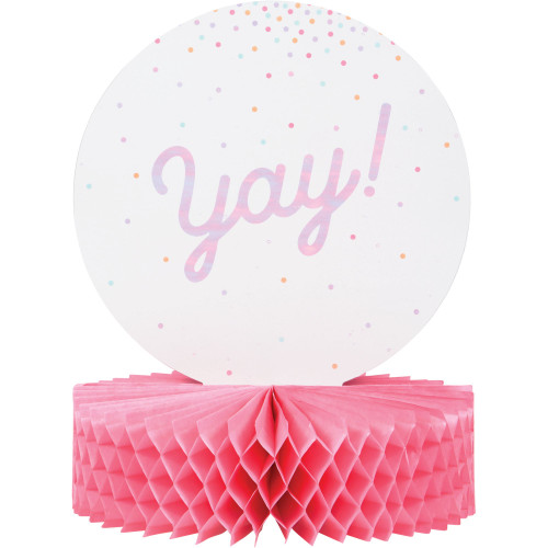 """Club Pack of 12 Pink and White Iridescent Party Theme Honeycomb Base Centerpieces 12"""" - IMAGE 1"""