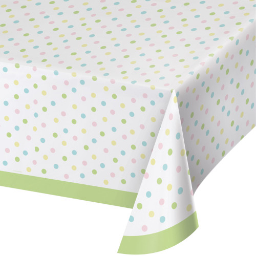 """Club Pack of 12 Green and White Pastel Polka Dots Rectangular Tablecloths 102"""" - IMAGE 1"""