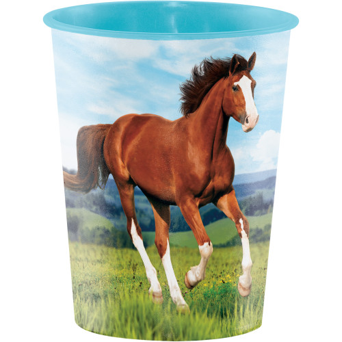 """Club Pack of 12 Blue and Brown Horse Keepsake Cups 4.5"""" - IMAGE 1"""